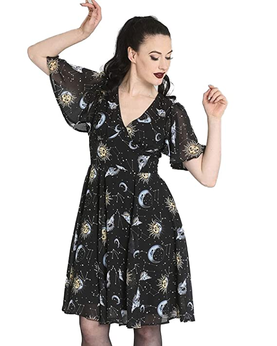 Easy Retro Halloween Costumes – Last Minute Ideas Hell Bunny Solaris Sun & Moon Print Flutter Sleeve Chiffon A-Line Dress $84.90 AT vintagedancer.com