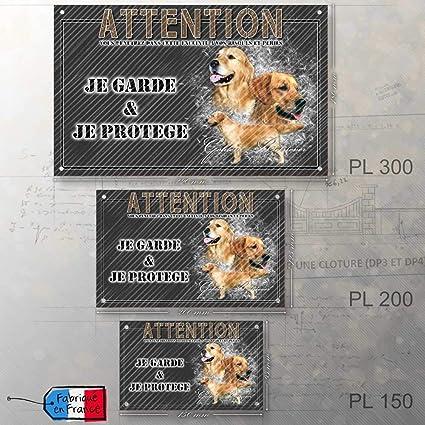 Pets-Easy.com Pancarte Chien personnalis/ée Chien Golden pr/é perfor/ée et vis propos/ées De 30 cm /à 15 cm/…