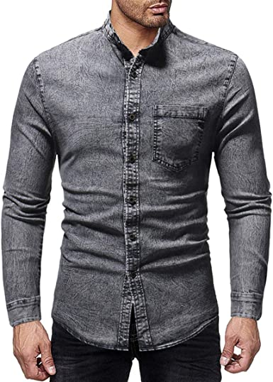 Mens Grey DENIM Button Jeans Long Sleeve SLIM FIT SHIRT Casual Shirts Fashion
