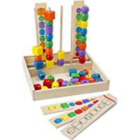 Melissa & Doug 570 Bead Sequencing Set with 46 Wooden Beads and 5 Double-Sided Pattern Boards