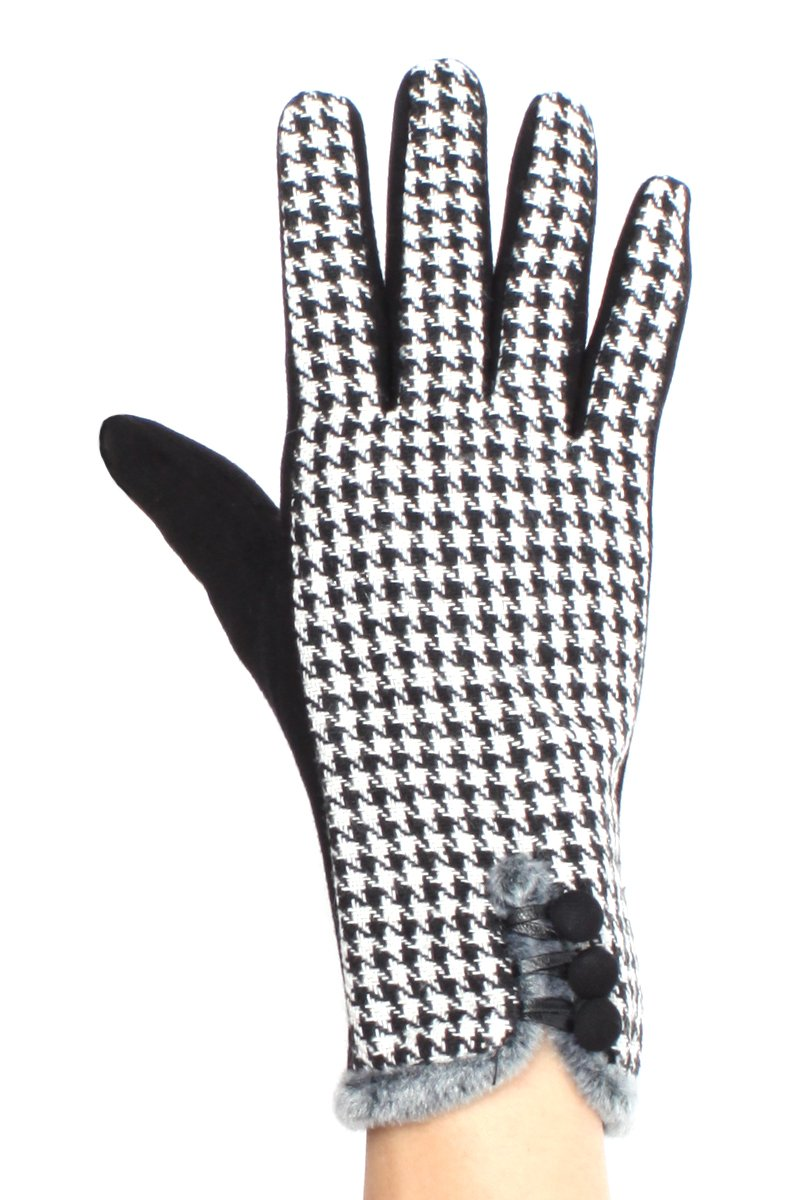 LL Womens Houndstooth Touch Screen Gloves for Smart Phones Medium Large