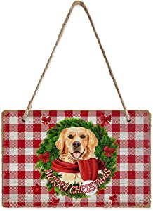 SunShine Day Small Slate Block Hanging Sign Board, Golden Retriever with Christmas Decor Bow Rustic Prints Chalkboard Plaque for Home Wall Door Yard Decor, 8 x 5 in, Retro Red Wood White Checkered