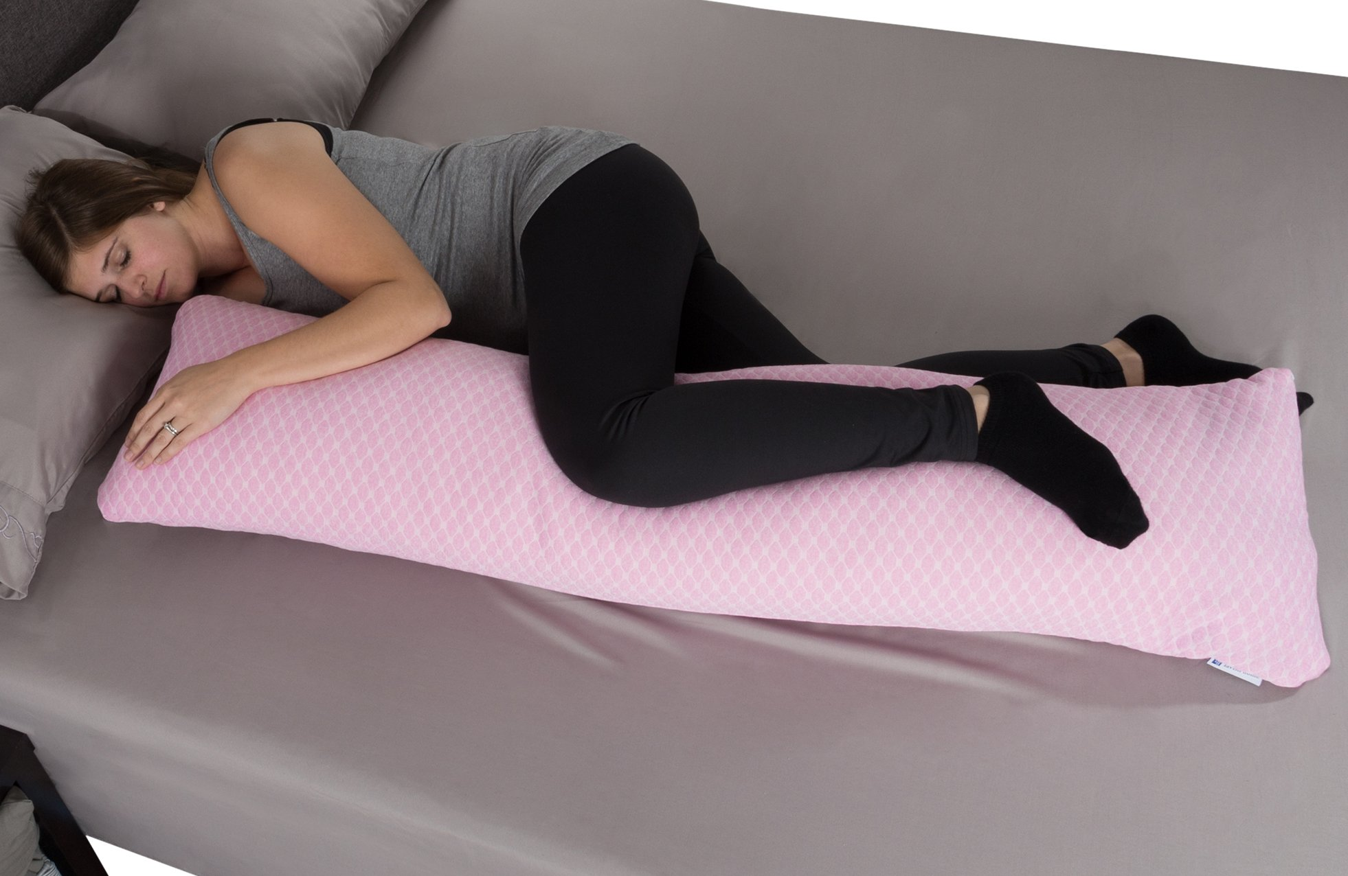 Lavish Home Memory Foam Body Pillow- for Side Sleepers, Back Pain, Pregnant Women, Aching Legs and Knees, Hypoallergenic Zippered Protector (Pink)