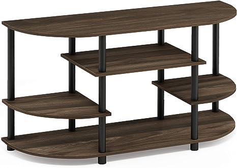 French Oak Grey//Black Furinno JAYA Simple Design Corner TV Stand