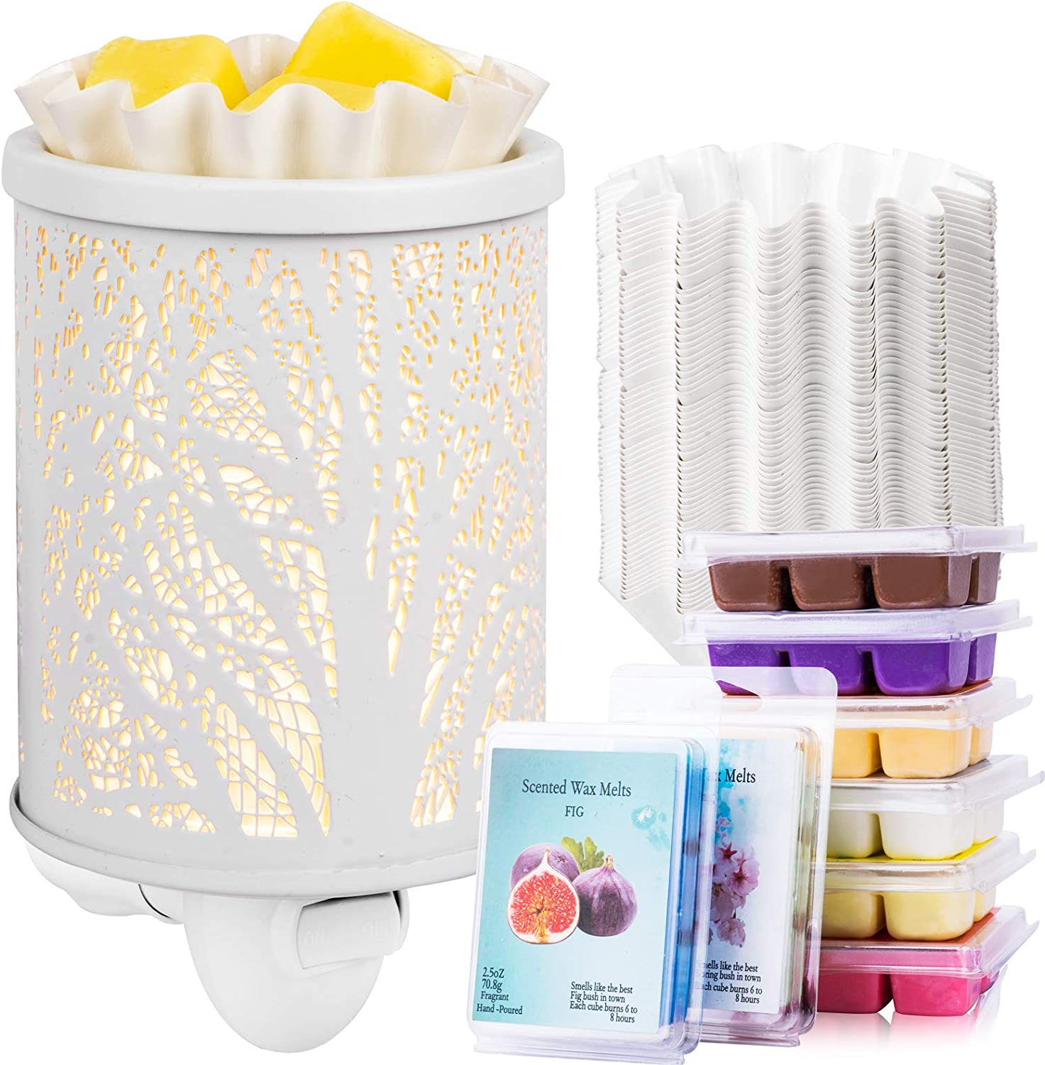 FANDOL Wax Melt Warmer Set Including Plug-in Wax Burner Fragrance Scented Wax Melts Wax Liners Wax Melter for Home Bedroom Kitchen Garage Gifts (White)