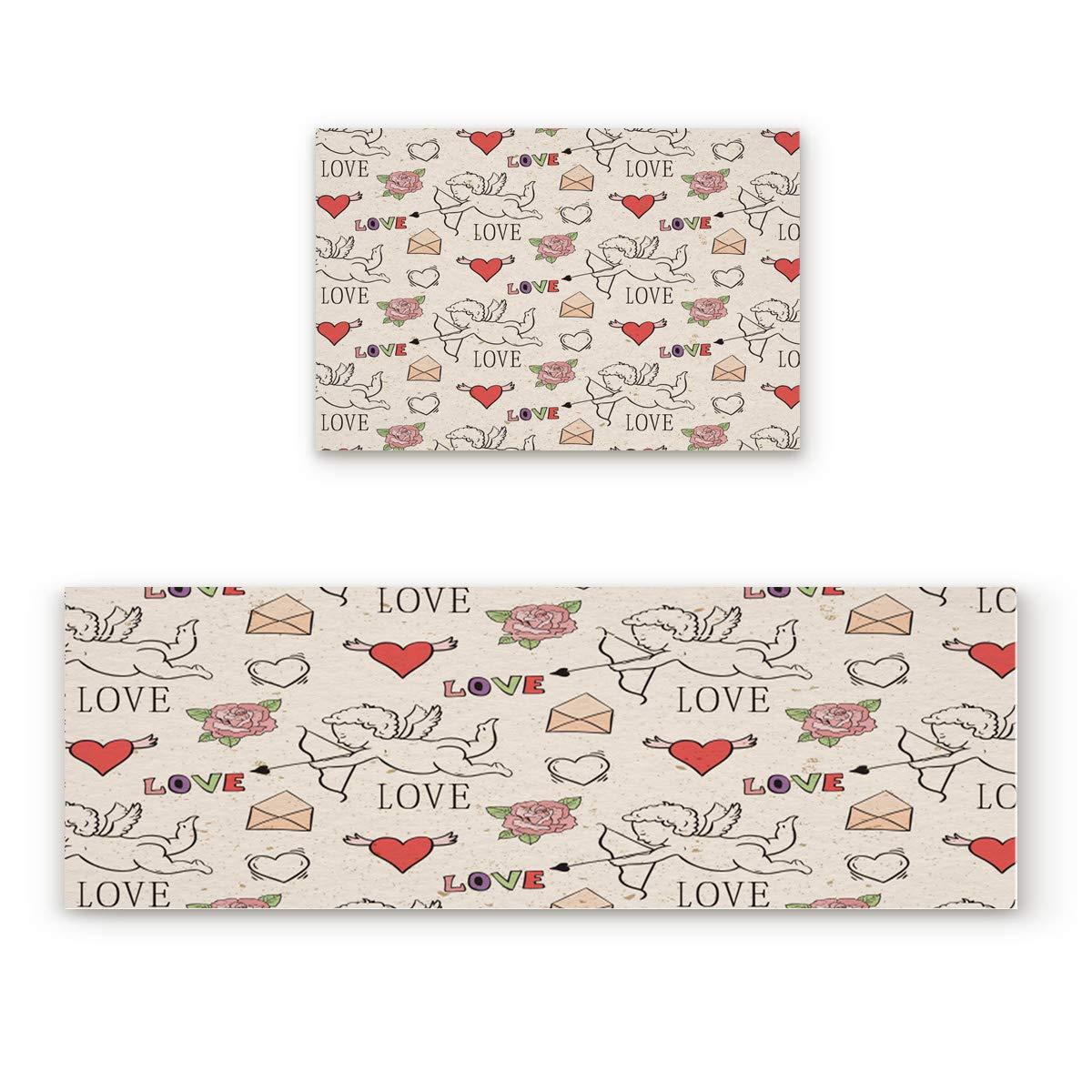 HomeCreator Non Slip 2pc Kitchen Area Rugs Retro Valentine