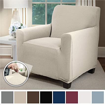 Sofa Shield Original Fitted 1 Piece Chair Slipcover, Soft Stretch, Seat Width Up to 23 Inch Furniture Protector, Washable Covers for Chairs, Spandex ...