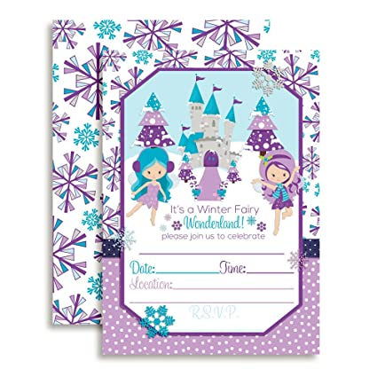 Amazon winter fairy wonderland birthday party invitations 10 5 winter fairy wonderland birthday party invitations 10 5quotx7quot fill in cards with filmwisefo