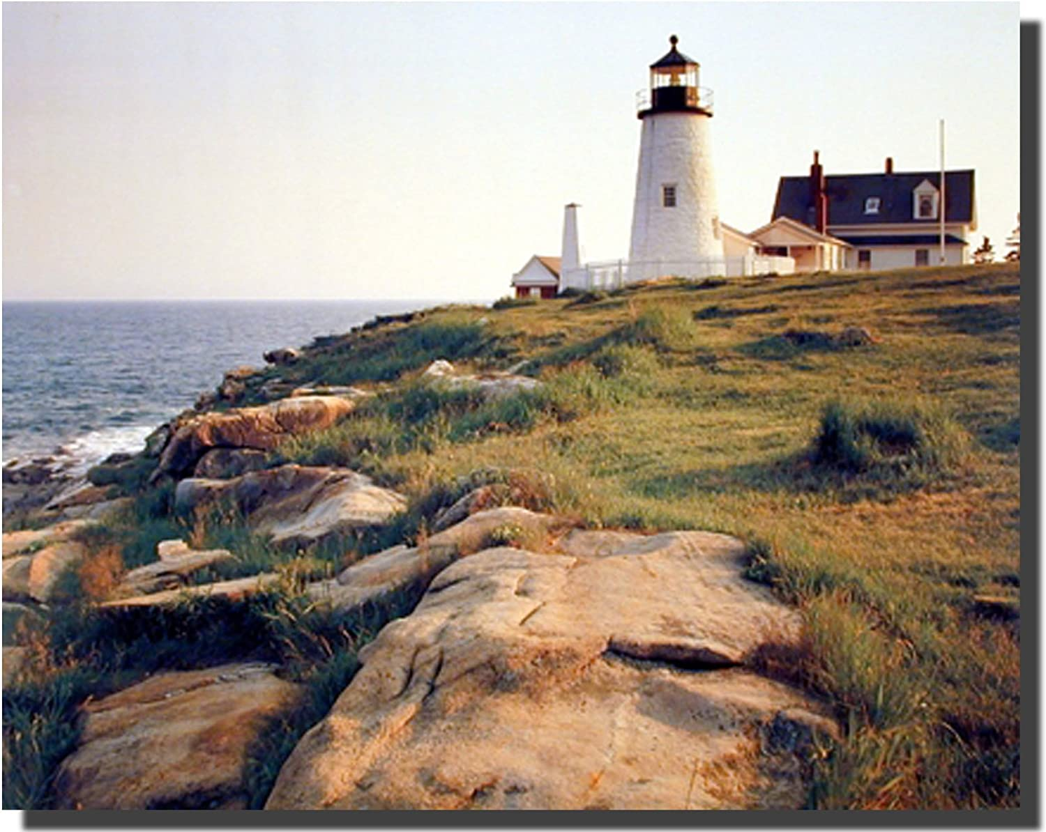 Lighthouse Pemaquid Ocean Cliff Landscape Scenery Wall Decor Art Print Poster (16x20)