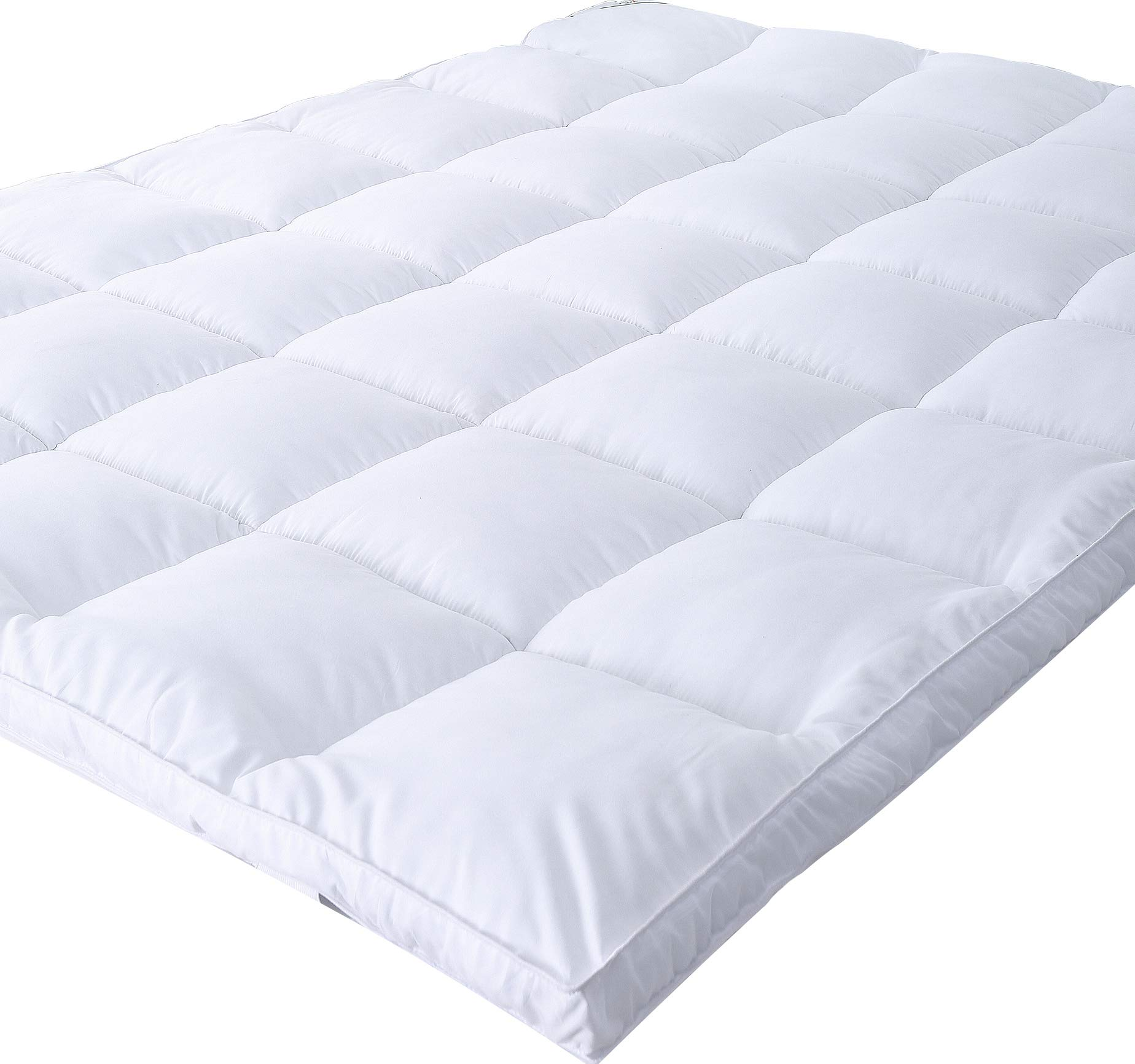 Naluka Mattress Topper Full Size, Down Alternative - Microplush Mattress Pad for All Seasons Quilted Stretch Pillow Top 2 Inch Thick (54''x75'')