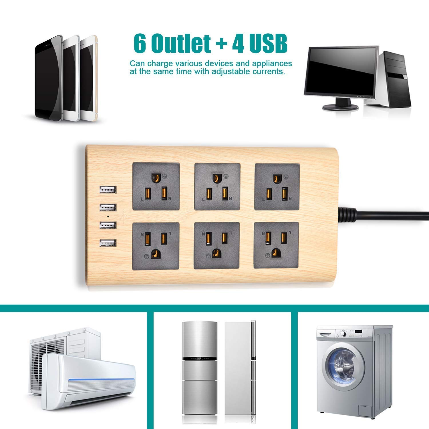 9.8ft Wood Power Strip with USB- SUPERDANNY Multi-Protection Extension Cord Right Angle Flat Plug 6 Outlets with 4 USB Fast Charging Ports for for iPhone iPad Home Indoor Office Desktop by SUPERDANNY (Image #2)