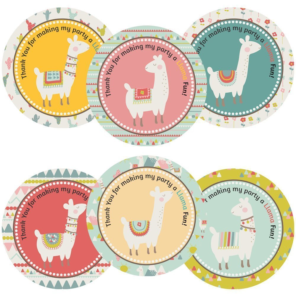 Llama Alpaca Party Thank You Sticker Labels - Girl Kid Birthday Baby Shower Favor- Set of 30