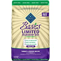 Blue Buffalo Basics Limited Ingredient Diet, Grain Free Natural Adult Dry Dog Food, Turkey & Potato
