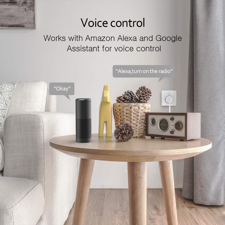 WLAN Steckdose, Smart Steckdose mit Verbrauchsanzeige Timer kompatibel mit iOS & Android, funktioniert mit Alexa/Google Home/IFTTT, Kein Hub erforderlich 10A-2300W