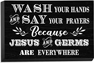 Jetec Farmhouse Bathroom Sign Wash Your Hands and Say Your Prayers Everywhere Rustic Wooden Wall Box Sign Funny Wall Plaque Table Decor for Home Room Office 7.87 x 5.1 Inch