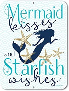 Honey Dew Gifts Mermaid Kisses and Starfish Wishes - 9 x 12 inch Metal Aluminum Novelty Sign Decor - Made in The USA