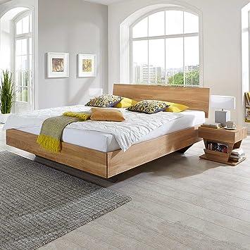 Pharao24 Bett Aus Wildeiche Massivholz Schwebend Breite 186 Cm Tiefe