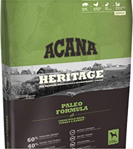 ACANA Paleo Dry Dog Food 13 Lb. Bag. Fresh Wild Boar, Turkey & Rabbit Grain Free Dog Food