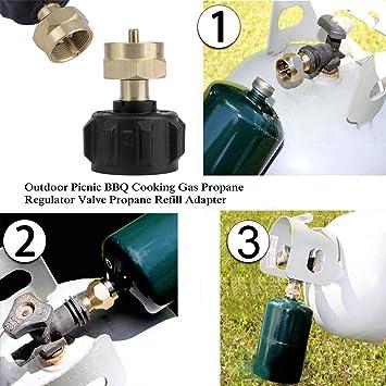 Heaviesk Picnic al Aire Libre Barbacoa Barbacoa Cocina Gas Propano Válvula Reguladora Propano Recarga Adaptador Estufa