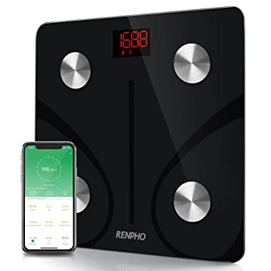 RENPHO Bluetooth Body Fat Scale Smart BMI Scale Digital Bathroom Wireless Weight Scale, Body Composition Analyzer with Smartphone App 396 lbs - Black