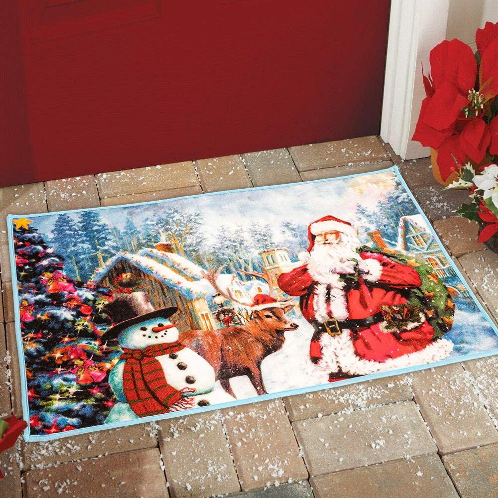 FORRES Luxury Christmas Rug Santa Claus Rugs 2x3 Feet, Non Slip Christmas Door Mat, Xmas Area Carpet for Indoor Outdoor Bedroom Living Room Home Holiday Decor