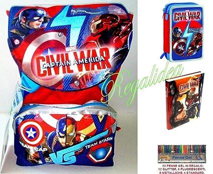 Mochila escolar extensible Seven Marvel Capitán América 2017 ...