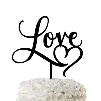 love wedding cake topper with heart black acrylic cursive letters love with heart