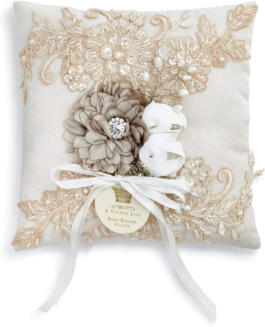 DEMDACO Vintage Lace White 7 x 7 Inch Beaded Polyester Ring Bearer Pillow