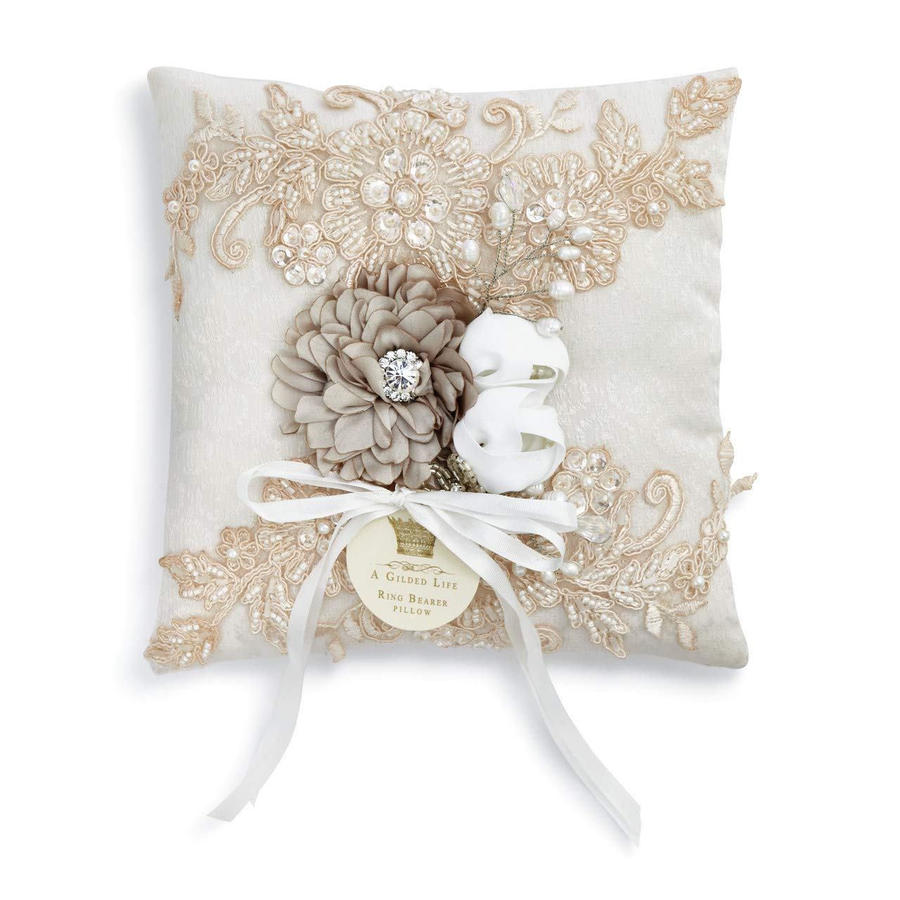 DEMDACO Vintage Lace White 7 x 7 Inch Beaded Polyester Ring Bearer Pillow by DEMDACO