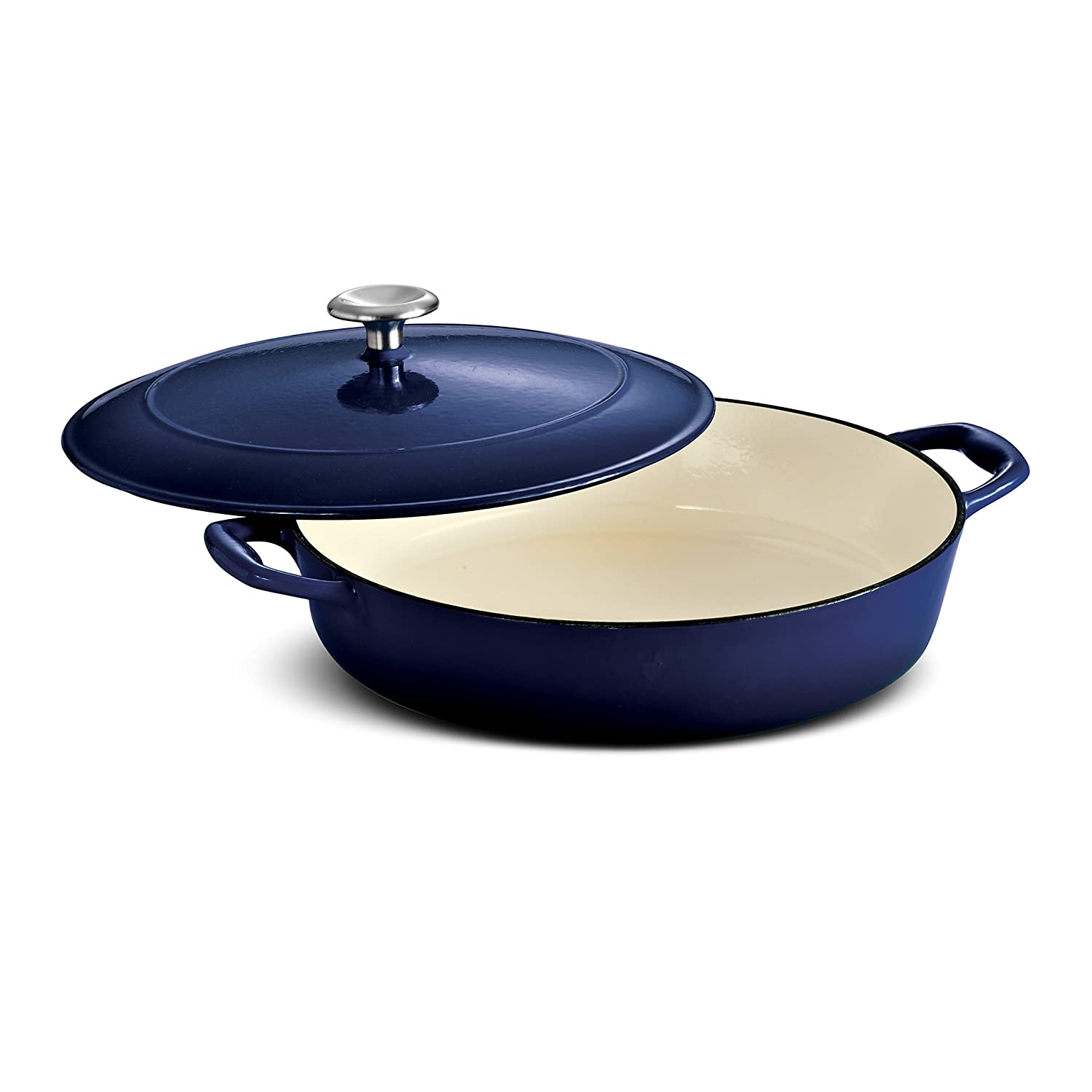 Tramontina 80131/069DS Enameled Cast Iron Covered Braiser, 4-Quart, Gradated Cobalt