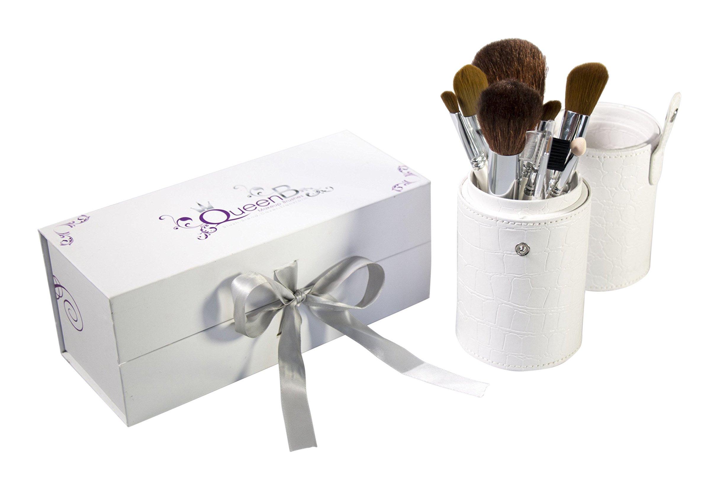 Luxury 10 Piece Makeup Brush Set in Boutique GIFT BOX * Handmade Natural & Synthetic Brushes * Soft & Dense * White Leather Designer Case * 1 Year Guarantee * Free Travel Lip Brush
