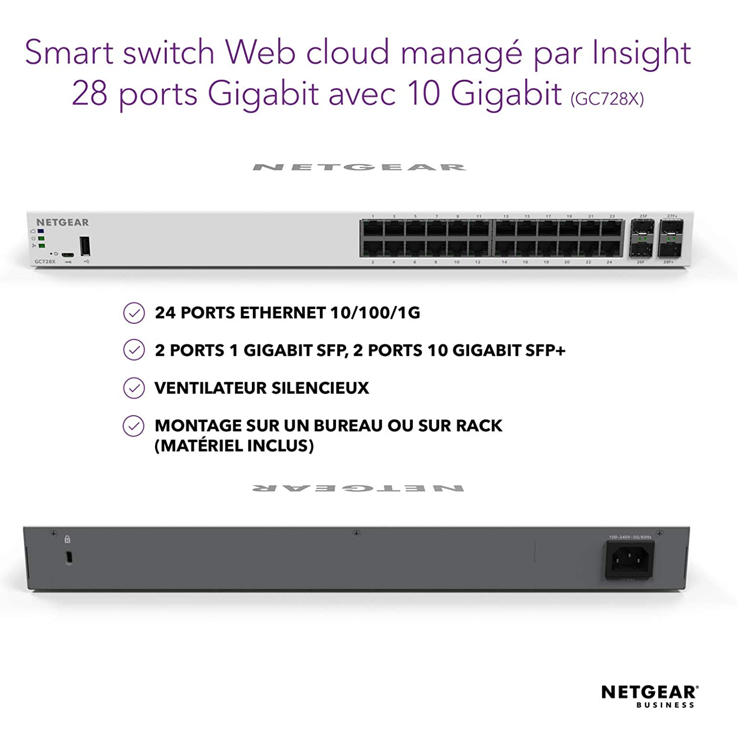 Switch Ethernet 8 Ports Gigabit POE+ 126W Smart Could avec FlexPOE NETGEAR Manageable GC108PP 10//100//1000