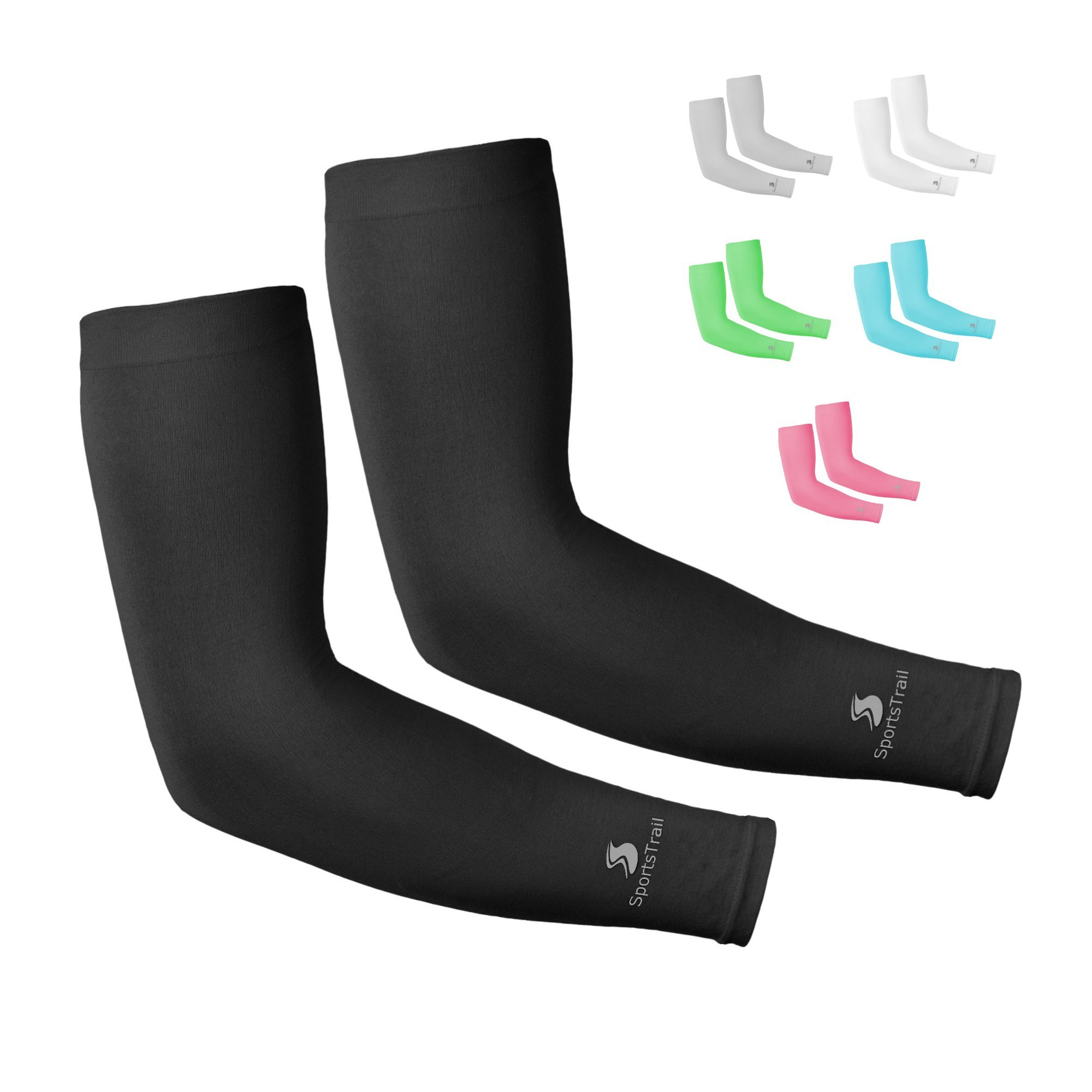 SportsTrail Arm Sleeves for Men & Women, Tatoo Cover up Sleeves to Cover Arms, 1 Pair (Black)