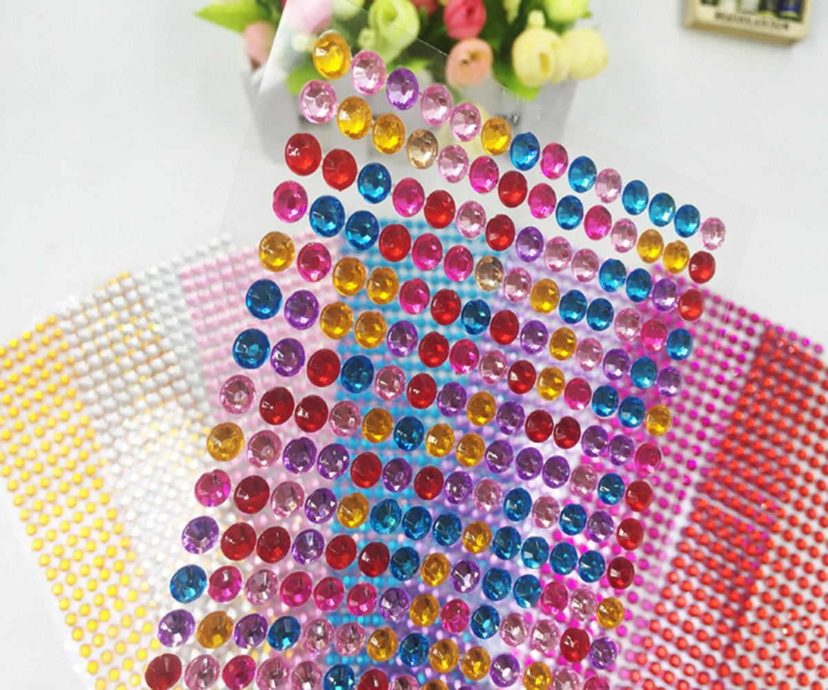 DoTebpa 4032 Pieces 6mm Colorful Bling Rhinestone Sticker Sheet Gem Diamond self adhesive for Scrapbooking Embellishments and DIY Crafts ,Wedding,Decor