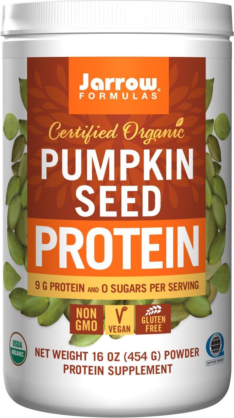 Jarrow Formulas Organic Pumpkin Seed Vegan Protein Powder, Complete Amino Acids, 16 oz. 454 g Powder