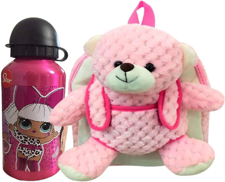 Mochila de Oso de Peluche Rosa Infantil con Botella de Agua Acero Inoxidable para niños y niñas cantimplora térmica a Prueba de Fugas sin BPA el Termo/400 m