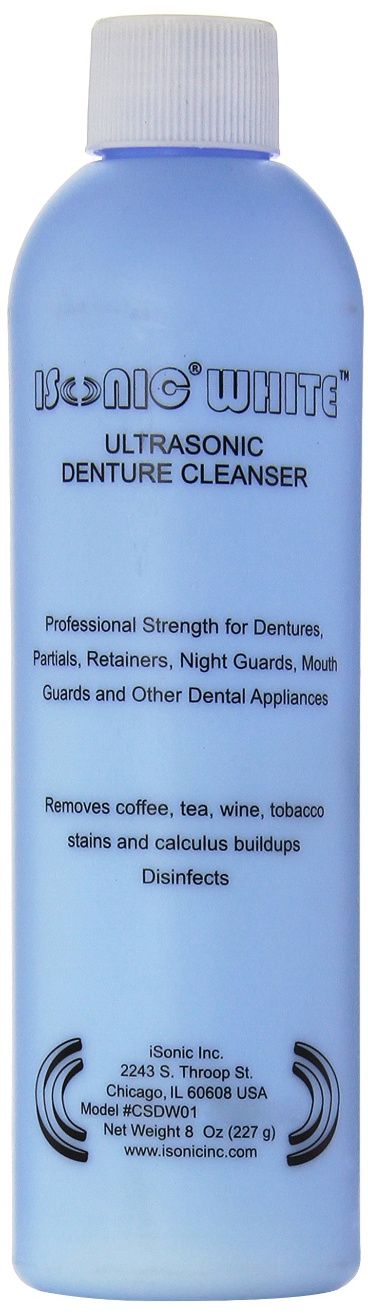 iSonic CSDW01 Ultrasonic Cleaning Powder for Denture and All Other Dental Appliances, 8oz./227 g Professional Strength, White