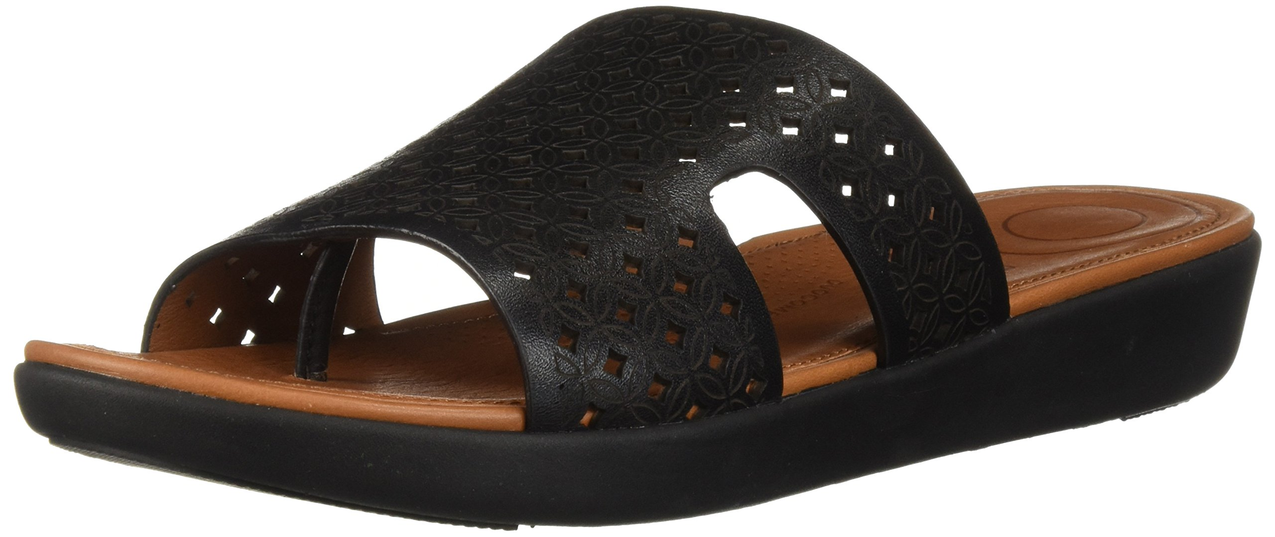 FitFlop Women's H-Bar Latticed Leather Slide Sandal, Black, 5 M US
