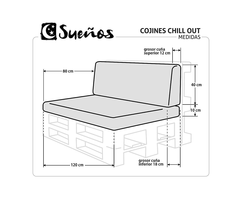 Respaldo colchoneta para sofas de palet color Blanco (1 x Unidad) Cojin relleno con espuma | Cojines para chill out, interior y exterior, jardin | No ...