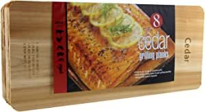 """Coastal Cuisine Cedar Grilling Planks, Simply Soak, Smoke, & Serve- Designed for Moist & Flavorful Fish, Meat, and Veggies – Add Sweet-Smoky Flavor to your Grilling Favorites, 7x16"""" Set of 8"""