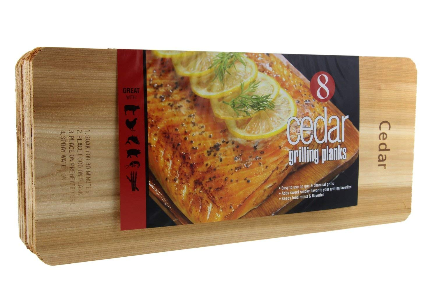 "Coastal Cuisine Cedar Grilling Planks, Simply Soak, Smoke, & Serve- Designed for Moist & Flavorful Fish, Meat, and Veggies – Add Sweet-Smoky Flavor to your Grilling Favorites, 7x16"" Set of 8"