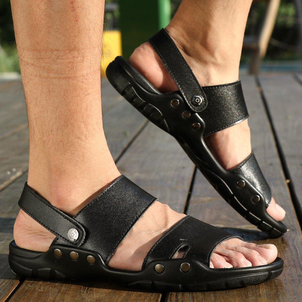 Sommer Große Größe Leder Sandalen Offen Toed Outdoor Pool Flip Flops Slip auf Pool Outdoor Schuhe Wandern Trekking Hausschuhe Für Männer schwarz 607cf0
