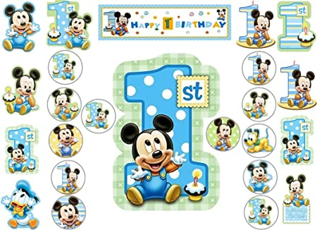 Marvelous Boys Mickey Mouse 1St Birthday Cup Cake Scene Toppers Wafer Edible Funny Birthday Cards Online Sheoxdamsfinfo