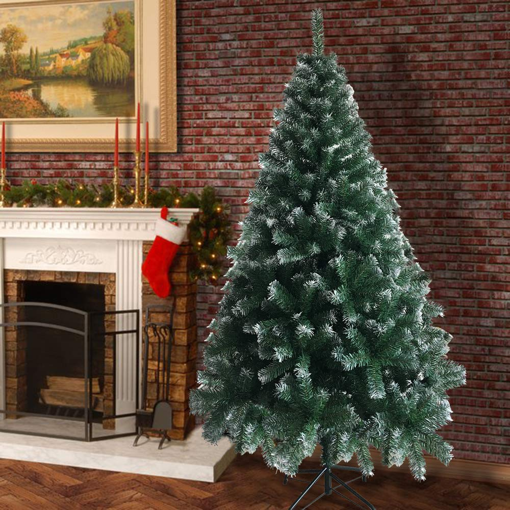 Qjoy 6FT Artificial Snow Christmas Tree with Metal Frame,Easy to Assemble Green 6FT Iron Leg White PVC 650 Branches Christmas Tree Ideal for Christmas Decorations