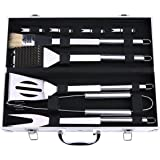 BBQ Grill Tools Set,Discoball Stainless Steel Utensils with Aluminium Case 9 Barbecue Accessories, Outdoor Grilling Kit for Dad