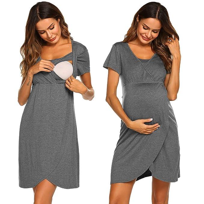 63c498720e9 Ekouaer Breastfeeding Sleepwear Maternity Nursing Nightgown Delivery Gown  (Grey
