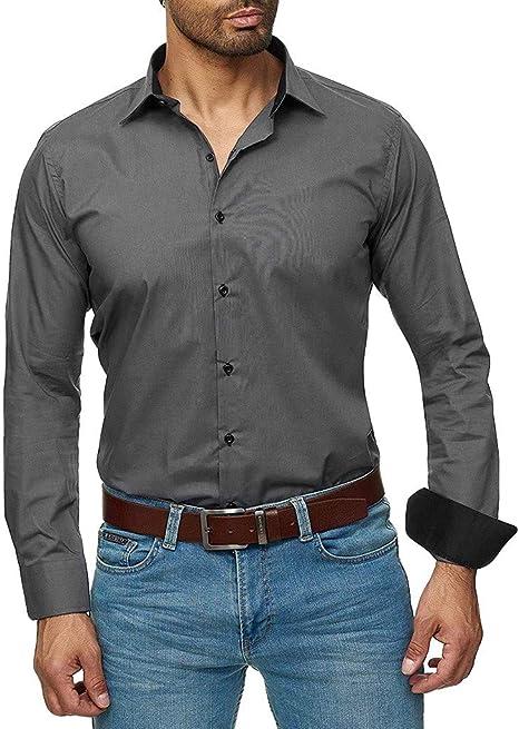 Dasongff Camisa de manga larga para hombre, elástica, ajustada, para ocio, negocios, boda, color puro, camisa clásica, camiseta de manga larga extra-large gris oscuro: Amazon.es: Grandes electrodomésticos