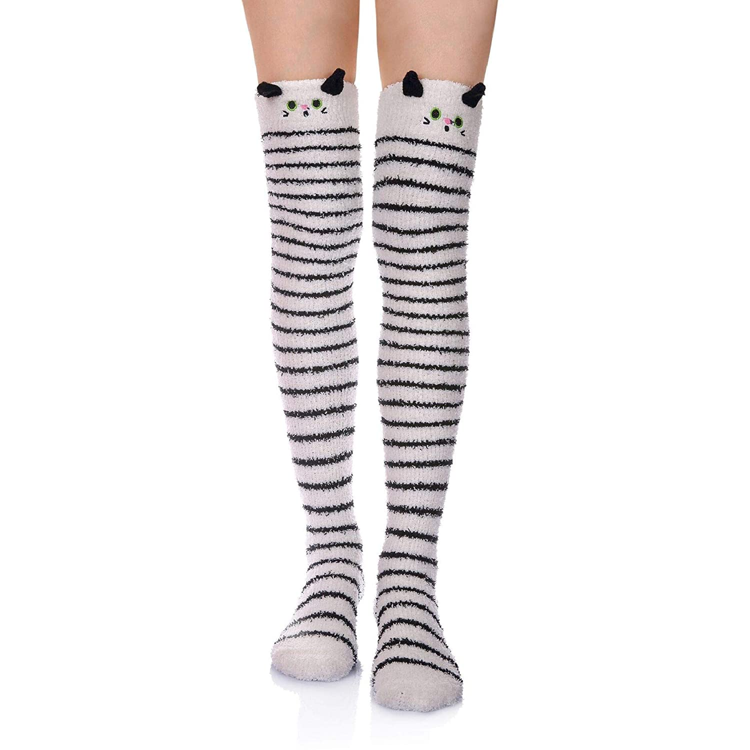 1 Pair Stripe Cat Wander G Womens Over Knee High Fuzzy Socks Cute Cartoon Thigh High Stockings Warm Stripe Leg Warmers
