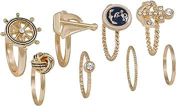 """SIX """"Marine 8er Set goldene Finger Ringe & Minirings im maritimen Stil, Blau, Strass (457-737)"""