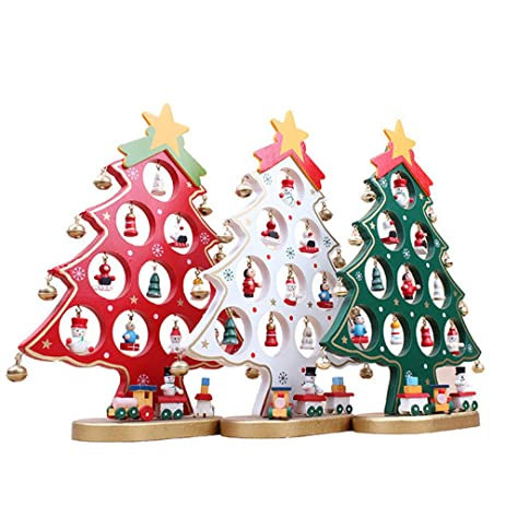winomo diy cartoon wooden christmas tree decoration christmas gift ornament table desk decoration green